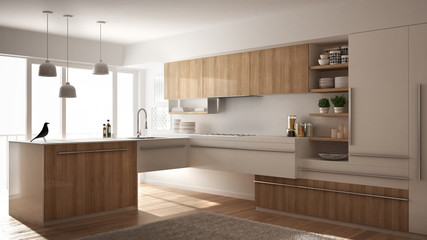 Modern minimalistic wooden kitchen with parquet floor, carpet and panoramic window, white architecture interior design