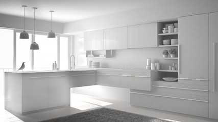 Total white project of modern minimalistic kitchen with island, carpet and panoramic window, architecture interior design