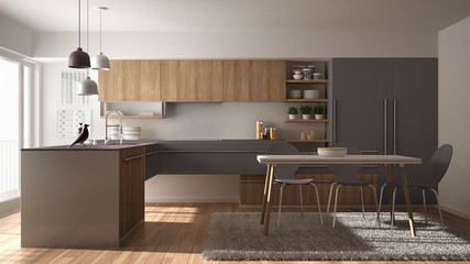 Modern minimalistic wooden kitchen with dining table, carpet and panoramic window, white and violet architecture interior design