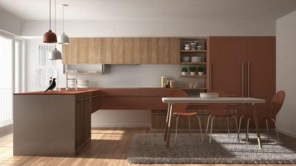 Modern minimalistic wooden kitchen with dining table, carpet and panoramic window, white and red architecture interior design