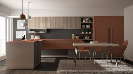 Modern minimalistic wooden kitchen with dining table, carpet and panoramic window, gray and red architecture interior design