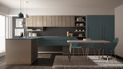Modern minimalistic wooden kitchen with dining table, carpet and panoramic window, gray and blue interior design