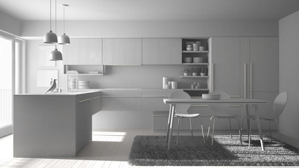 Total white project of modern minimalistic kitchen with dining table, carpet and panoramic window, architecture interior design