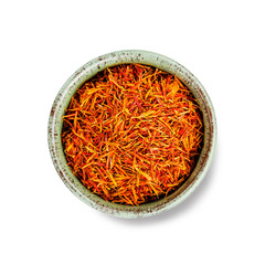 Dried saffron spice isolated on white background. top view.