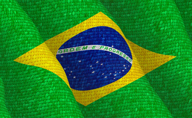 Illustration of a flying Brazilian flag