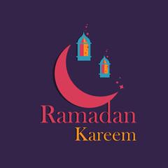 Hand-drawn Illustration of Ramadan lanterns with lights, Crescent on a purple background with Ramadan Kareem greeting text.