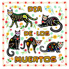 Calavera cats background