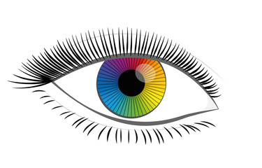 Rainbow colored eye iris - beautiful, female, mystic, colorful fantasy contact lens - isolated vector illustration on white background.