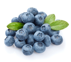 Heap of blueberries isolated on white background