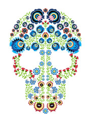 Colorful Polish folk inspired by traditional Mexican sugar skull art with  floral pattern elements