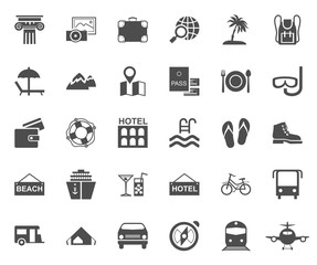 Travel, vacation, tourism, leisure, monochrome icons, flat. Different types of recreation and ways to travel. Grey images on a white background. Vector.