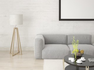 Mock up a modern living room with a fashionable interior and a light hipster background.