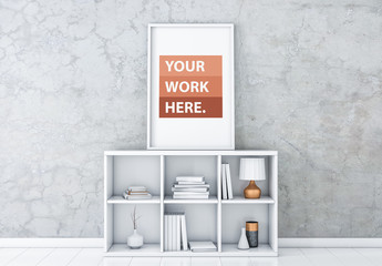White Framed Poster on Shelving Unit Mockup