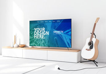Smart TV with Contemporary Furniture and Guitar Mockup