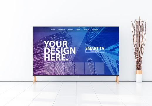 Smart TV in Modern Living Room Mockup