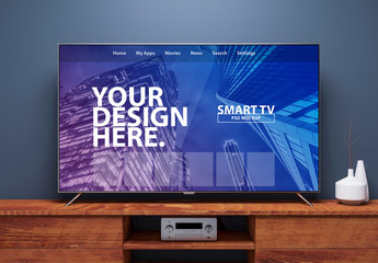 Smart TV on Wooden Console Mockup