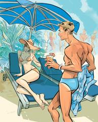 Man with suntan on vacation