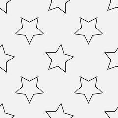 Black and white outlined stars seamless vector pattern. Decorative texture. Simple minimal background.