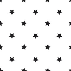Black and white stars seamless vector pattern. Decorative texture. Simple minimal background.
