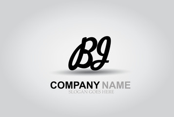 Vector Hand Drawn Letter BJ Style Alphabet Font.