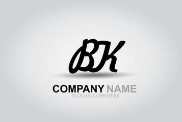 Vector Hand Drawn Letter BK  Style Alphabet Font.