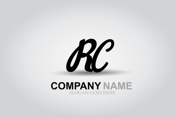 Vector Hand Drawn Letter RC Style Alphabet Font.