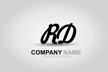Vector Hand Drawn Letter RD Style Alphabet Font.