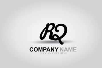 Vector Hand Drawn Letter RQ Style Alphabet Font.