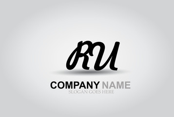 Vector Hand Drawn Letter RU Style Alphabet Font.