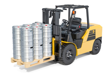 Beer metallic kegs on the forklift truck, 3D rendering