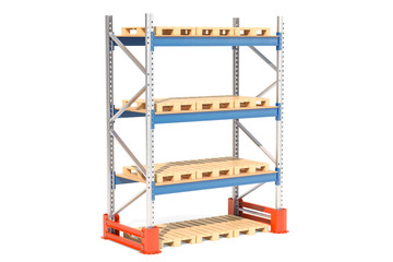 Empty pallet rack. 3D rendering