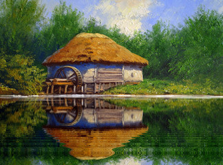 Oil paintings rural landscape. Fine art.