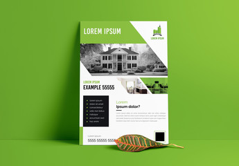 Real Estate Business Flyer Layout with Green Accents
