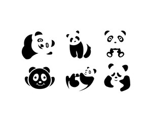 panda animal silhouette set