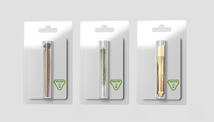 Marijuana Joint, Blunt and Vape Cartridge in Plain Plastic Package - Isolated
