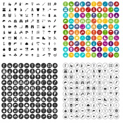 100 tackle icons set vector in 4 variant for any web design isolated on white