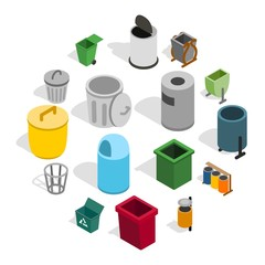 Trash bin icons set in isometric 3d style isolated on white background. Vector illustration