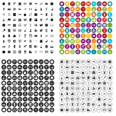 100 teaching materials icons set vector in 4 variant for any web design isolated on white