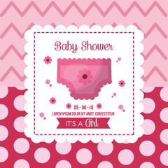 baby shower celebration frame with diaper girl born polka dot backgound vector illustration