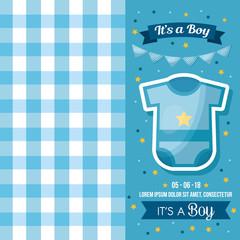 baby shower celebration square blue background clothes pennants boy born vector illustration