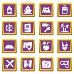 Travel summer icons set vector purple square isolated on white background