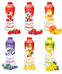 Set of yogurt in bottles with fruit and berries. Design template. Vector