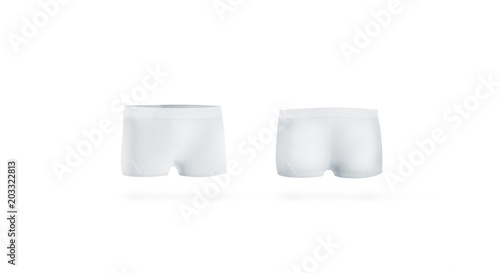 6b91f466cb Blank white underpants mock up front and back side, isolated. Empty boxer briefs  mockup