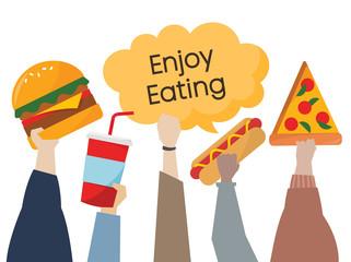 """Illustration of hands holding food """"enjoy eating"""""""