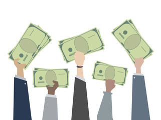 Illustration of hands holding money cash