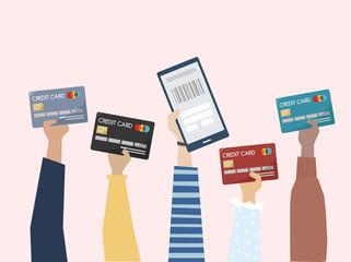 Illustration of hands holding credit cards