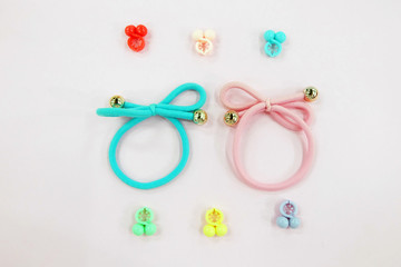 Hair Accessories for Lady So Cute. Hair Cyan Elastic Band with Free Space. Fabric Hair Blue and Pink Band Isolated on Pink Background