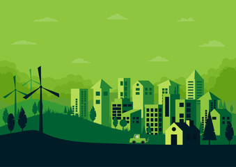 Green silhouette nature landscape and urban cityscape abstract background.Vector illustration.