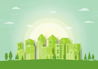 Green silhouette urban cityscape with nature landscape concept background.Vector illustration.