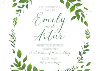 Wedding floral invitation, invite, save the date card vector template. Modern rustic, eco style design with watercolor botanical green leaves, forest tree branches, greenery herbs elegant frame wreath